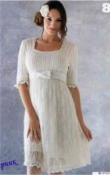 белое платье вязаное крючком