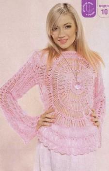 Розовый пуловер вязаный на вилке