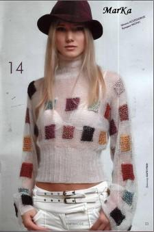 Пуловер узор квадратный