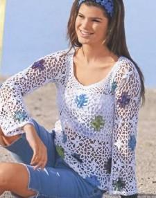Пуловер с разноцветными розетками