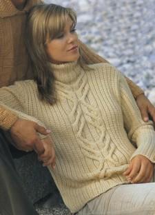Пуловер с узорной полосой