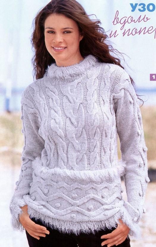 Серый пуловер с «меховой» отделкой
