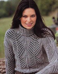 Ажурный пуловер с узором в резинку