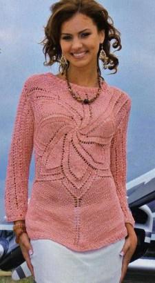 Розовый свитер вязание спицами