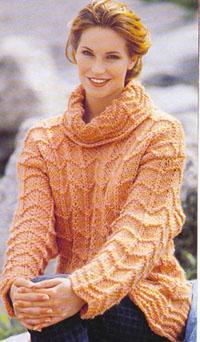 Рыжий пуловер с воротником