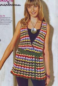 Разноцветный топ вязание крючком