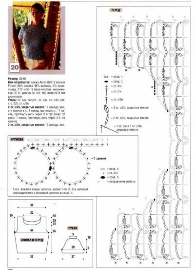 Ажурный пуловер вязаный крючком описание