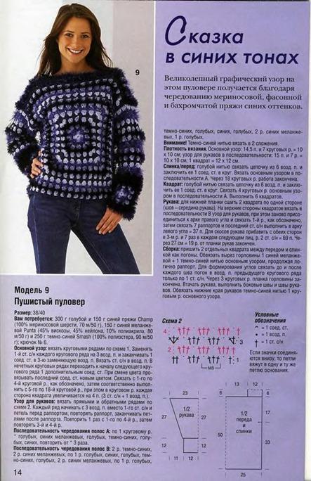 Пушистый пуловер полное описание вязания