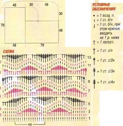 Меланжевое пончо схема вязания