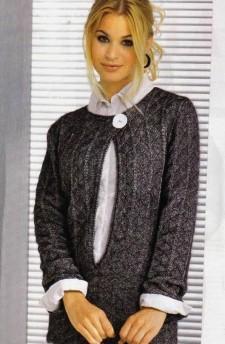 Серебристо-черный меланжевый пуловер