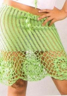 Зеленая юбка вязаная крючком
