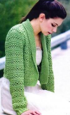 вязаный жакет зеленого цвета