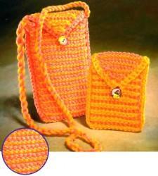 Вязаная сумочка для мобильного телефона