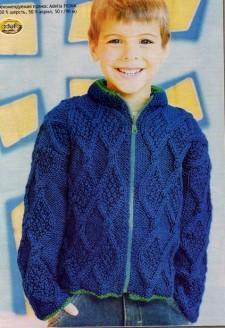 Вязание для мальчика синий жакет