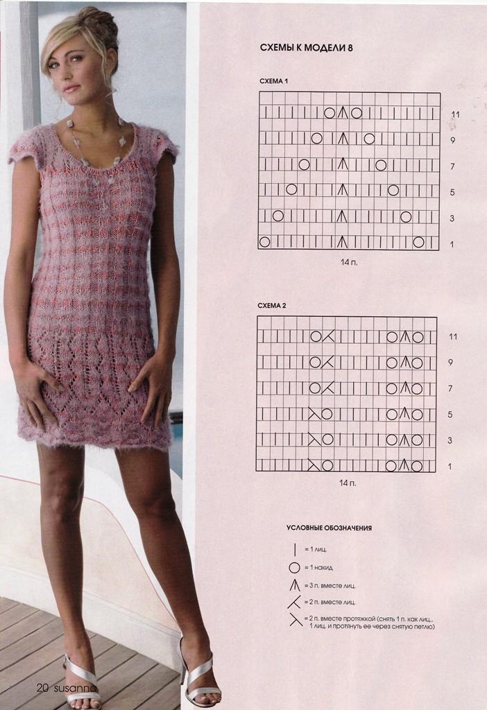 Платье с ажурным краем вязание спицами