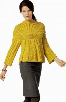 Пуловер с кокеткой вязание спицами