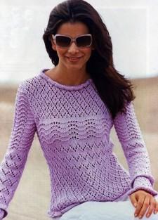 Ажурный пуловер с рюшами