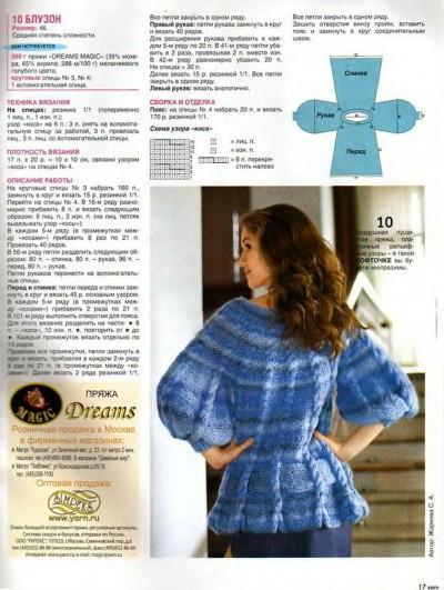 Голубой блузон полное описание вязания