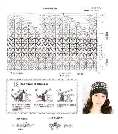 шапка вязаная крючком схема