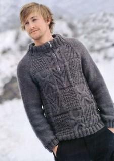 Мужской пуловер с рельефным узором