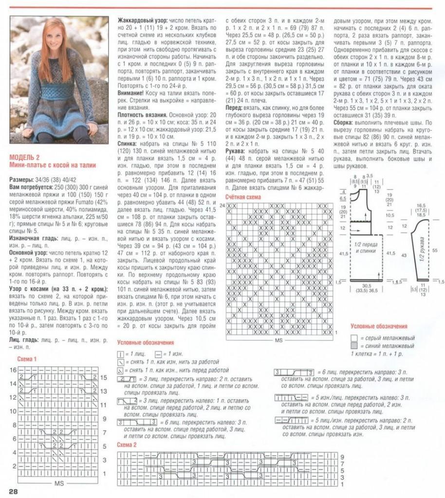 Очаровательное мини-платье описание вязания