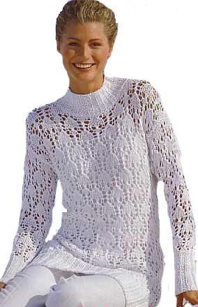 Белый пуловер вязание спицами