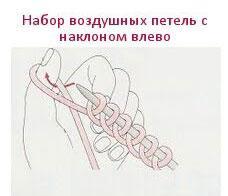 Набор воздушных петель с наклоном влево