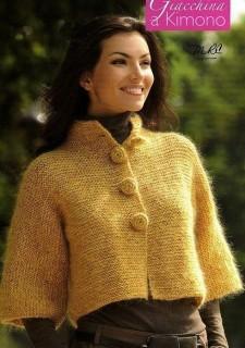 Желтый пуловер вязаный спицами