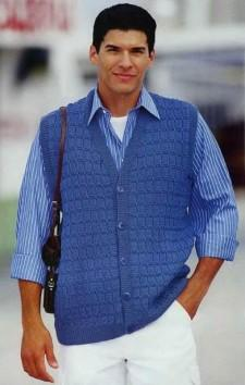 Синий жилет вязание для мужчин