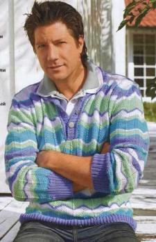 Пуловер поло с узором из зигзагов для мужчины
