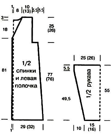 Пальто со структурным узором связанное на спицах выкройка