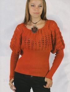 пуловер с рукавами-фонариками