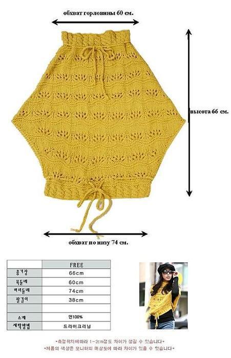 Желтый вязаный пуловер выкройка