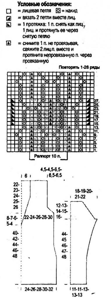 Длинный ажурный пуловер вязание схема