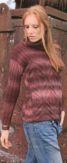 Меланжевый пуловер вязный спицами