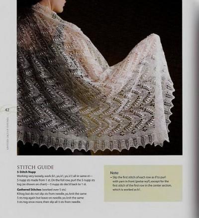 Красивая шаль вязаная спицами