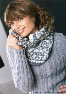 Вязаный жаккардовый шарф