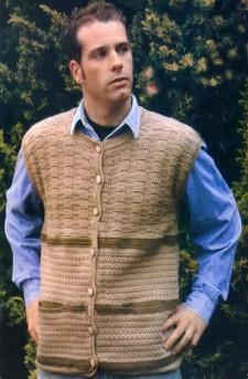 Жилет с карманами вязание для мужчин