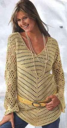 Пуловер с клиновидным краем