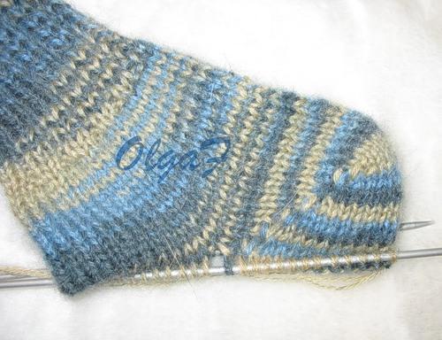 вязание носков на 2-х спицах вяжем пятку