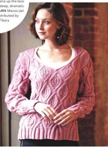 пуловер розовый вязаный спицами