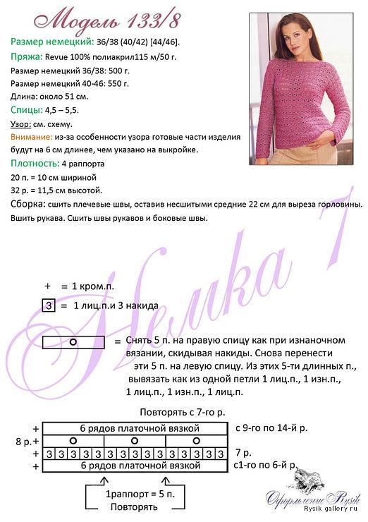Розовая кофточка вязаная спицами описание