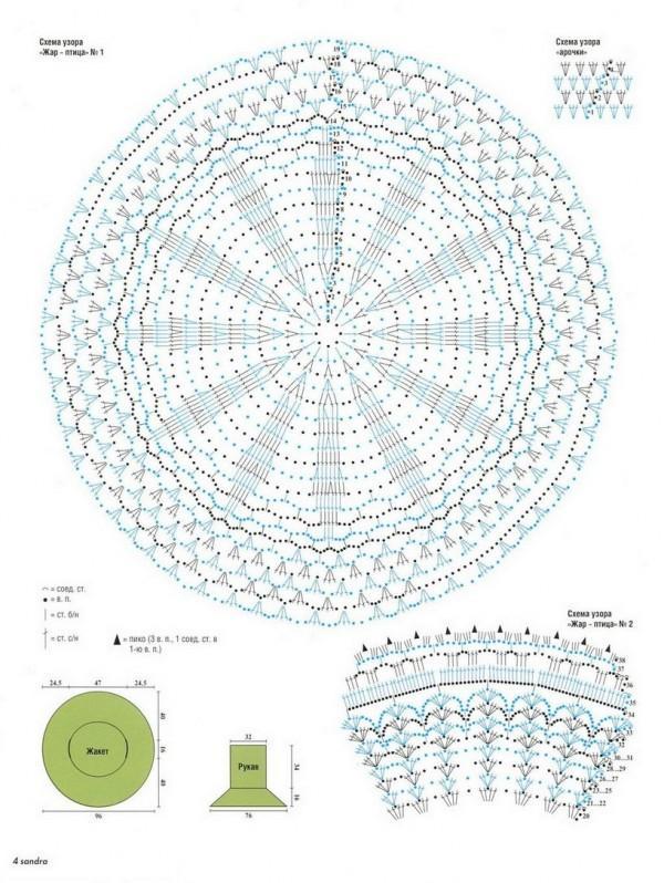 Вязаный по кругу жакет схема вязания