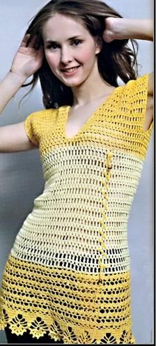 Платье желтого цвета вязаное крючком