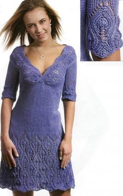 Вязаное синее платье