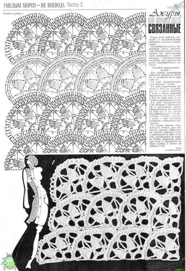 Топ веерами схема вязания