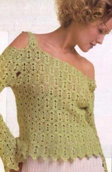 Зеленый пуловер вязаный крючком