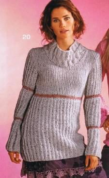 Пуловер с розовыми полосами