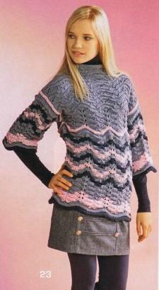 Пуловер с волнистыми полосками