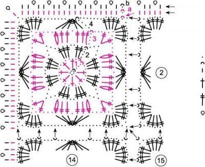 Ажурный палантин вязаный крючком схема